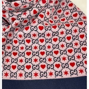 Gucci Multicolor Gg Hearts Mherry Wool Scarf/Wrap